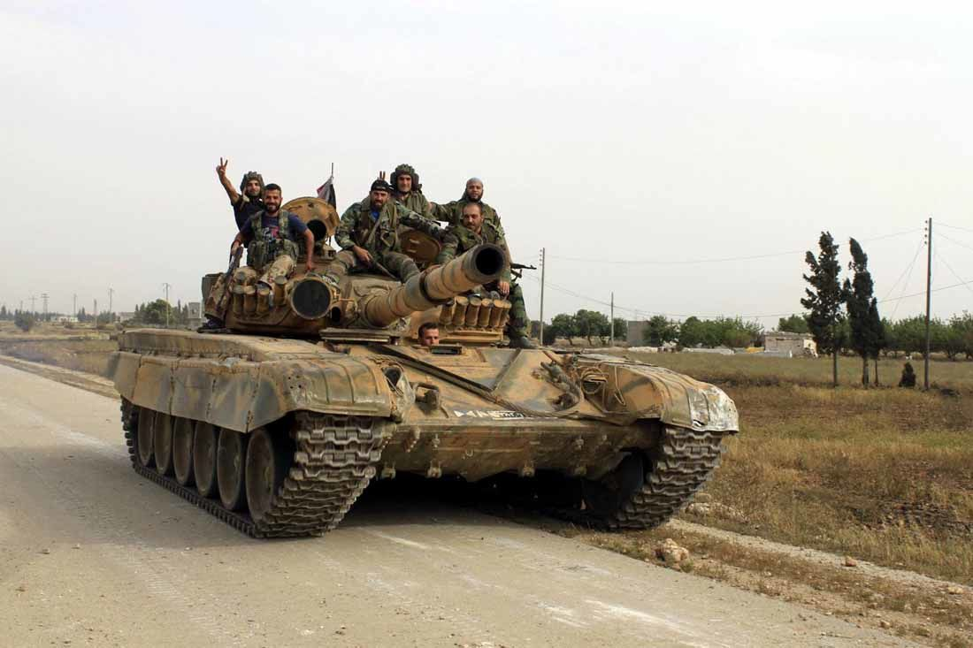 A Syrian Army T-72M1 during the battle of quseir, May 2013