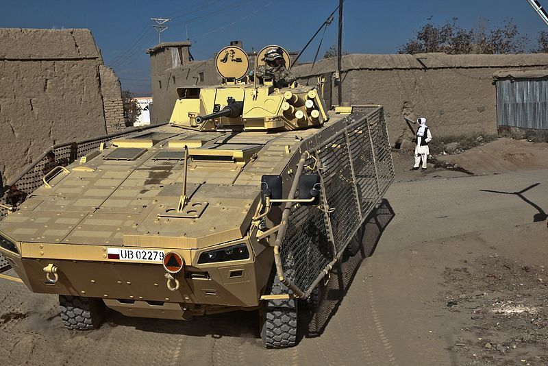 A Polish Rosomak armored vehicle patrols a street in Ghazni, Afghanistan, Nov. 18, 2010 - photo US Army
