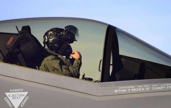 U.S. Air Force Major Kevin Hall goes through his pre-flight checks before flying an F-35A at Hill Air Force Base, Utah. Hall is an F-35 test pilot. Photo by Airman 1st Class Joshua D. King/USAF