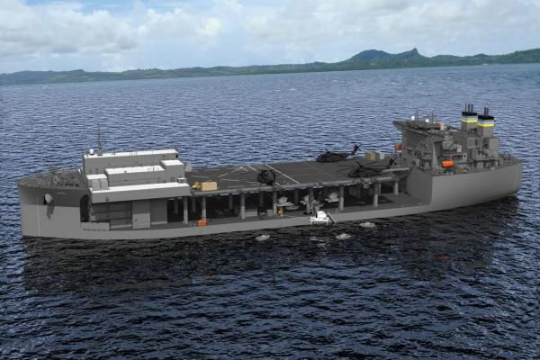 3-D model of NASSCO's Expeditionary Base Mobile ship. Image courtesy of NASSCO