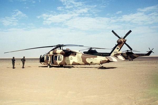 A UH-60 Black Hawk of the Saudi Arabian Army. Photo by USAF Tech Sgt. H. H. Deffner.