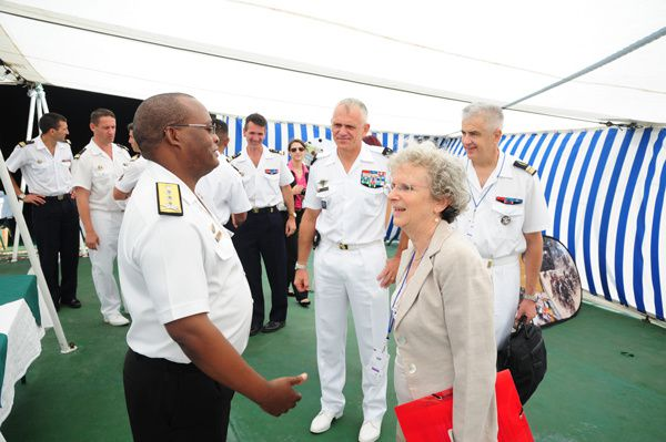 C-Navy welcomes the French Ambassador on board SAS PROTEA - Photo by Leading Seaman Themba Zekevu