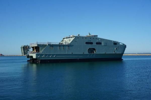 Austal has launched a high speed support ship it is building for Oman. Austal photo.