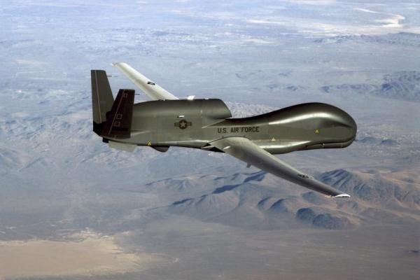 A U.S. Air Force RQ-4 Global Hawk soars through the sky during a reconnaissance mission. U.S. Air Force photo