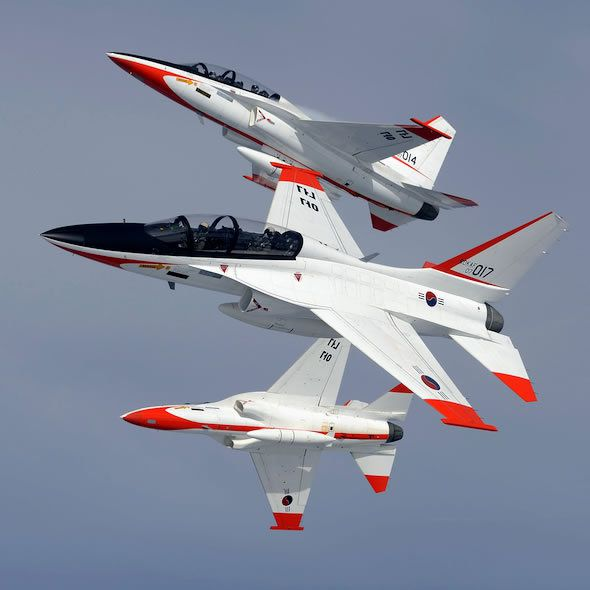 T-50 aircrafts, co-developed by KAI and Lockheed Martin. Photo KAI