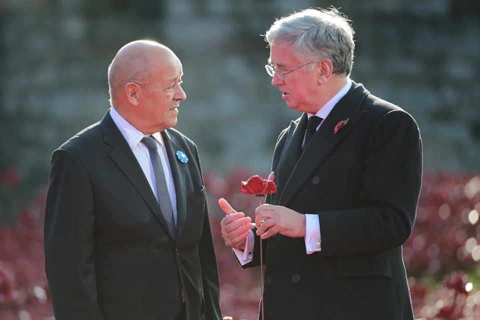 Defence Secretary Michael Fallon and French Minister for Defence Monsieur Le Drian. photo UK MoD