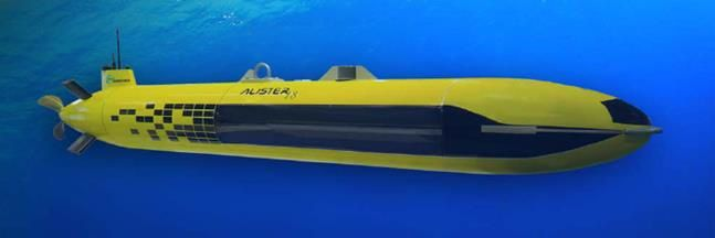 Artist rendition of ECA Robotics (ECA Group) A18D AUV shown fitted with Kraken's AquaPix® Miniature Interferometric Synthetic Aperture Sonar