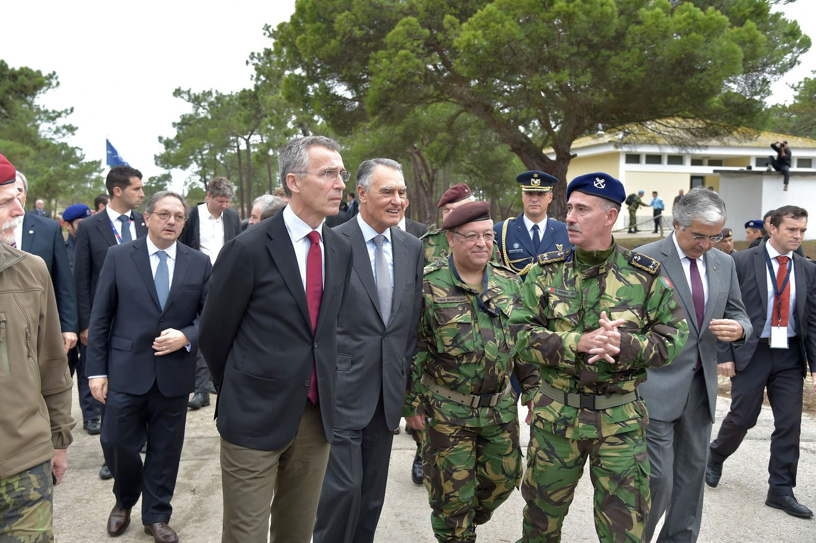 NATO Secretary General Jens Stoltenberg accompanied by the President of Portugal, Anibal Cavaco Silva and General Artur Neves Pina Monteiro, Chief of Defence of Portugal - photo Nato