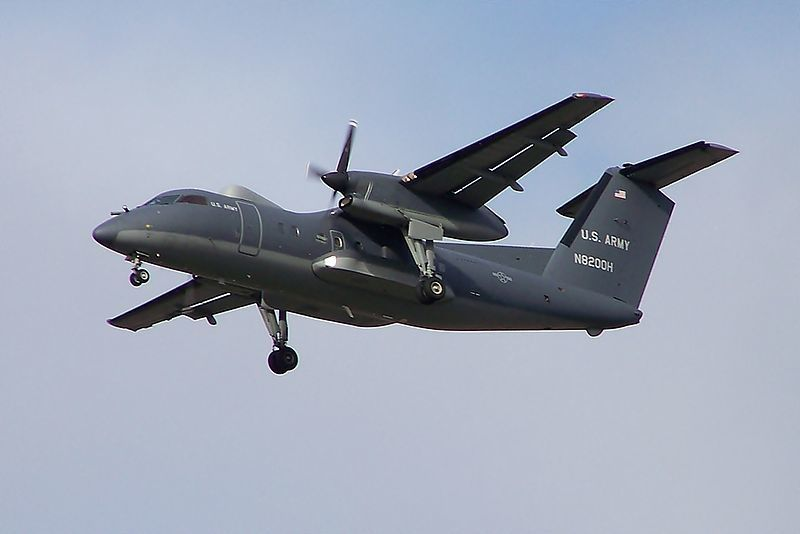 Dash 8 US Army landing at Glasgow (2012) photo Mark Harkin