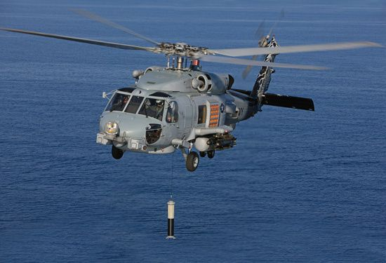 The ALFS integrated dipping sonar system enables the MH-60R to accomplish assigned undersea warfare missions. (Photo credit Lockheed Martin)