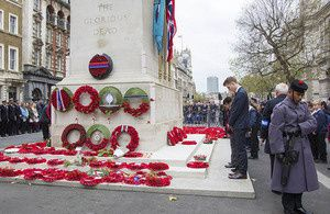 Servicemen and women around the world have joined the nation in marking two minutes' silence on Armistice Day.