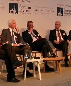 Philippe Burtin (Nexter), Bernhard Gerwert (Airbus DS), Frank Haun (KMW) at German French business forum (10 Nov)- photo LB