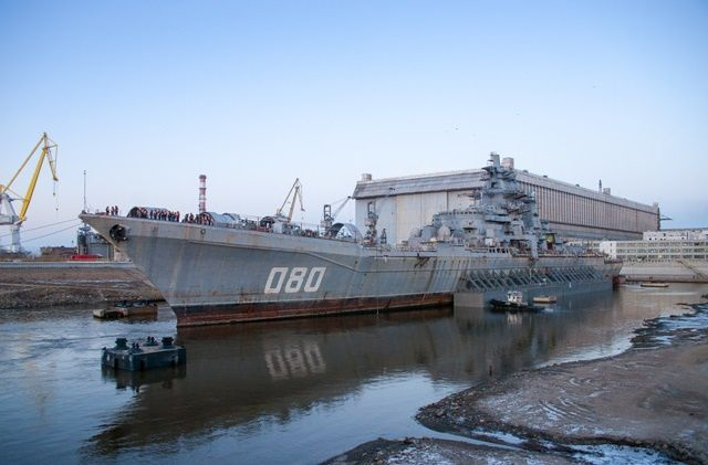 The Admiral Nakhimov nuclear-powered missile cruiser (project 1144.2) in the dry dock at Sevmash shipyard in Severodvinsk in November 2014. Picture: Sevmash