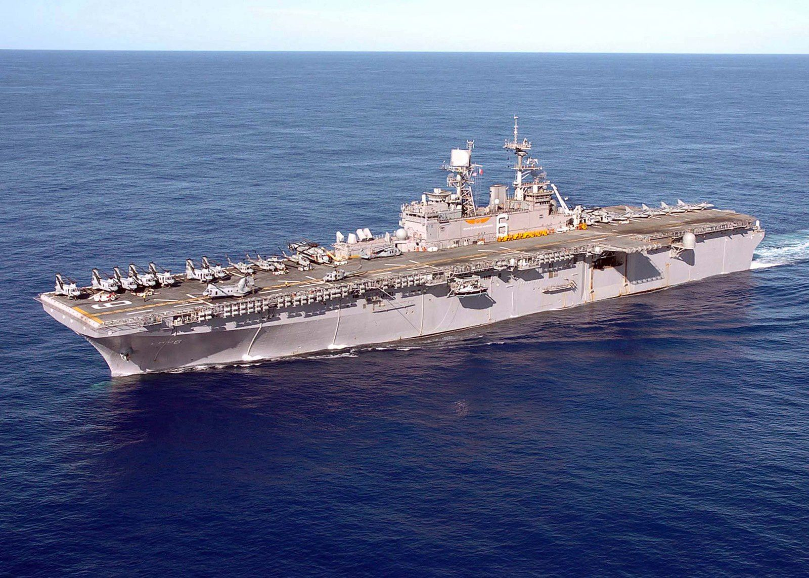 (Dec. 19, 2004) – The amphibious assault ship USS Bonhomme Richard (LHD 6) underway in the waters of Western Pacific Ocean. U.S. Navy photo by Photographer 3rd Class Matthew J. Kuhlman