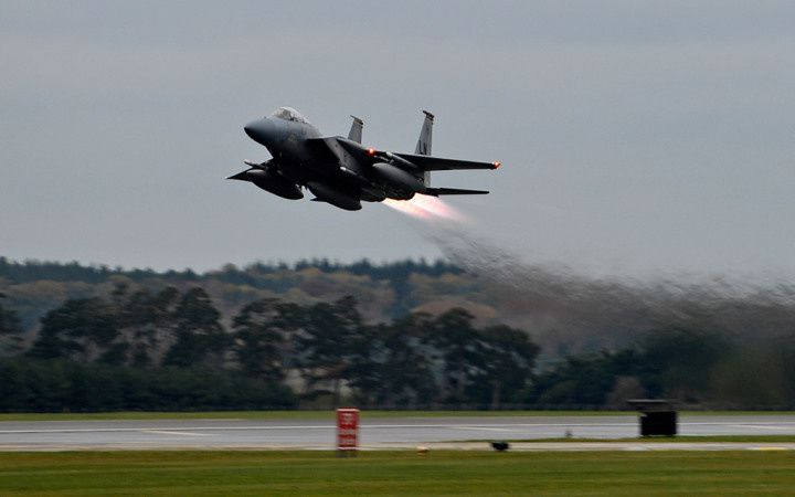 Two F-15 aircraft were used in the strike - photo USAF