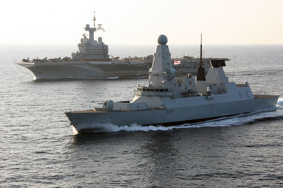 Type 45 destroyer HMS Defender with French aircraft carrier Charles de Gaulle. photo UK MoD