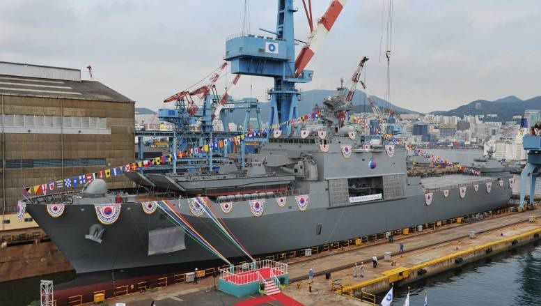 A ceremony was held to launch the Navy's second next-generation landing vessel LST-II Cheonjabong on Dec. 15, 2015. (photo courtesy of the Navy)