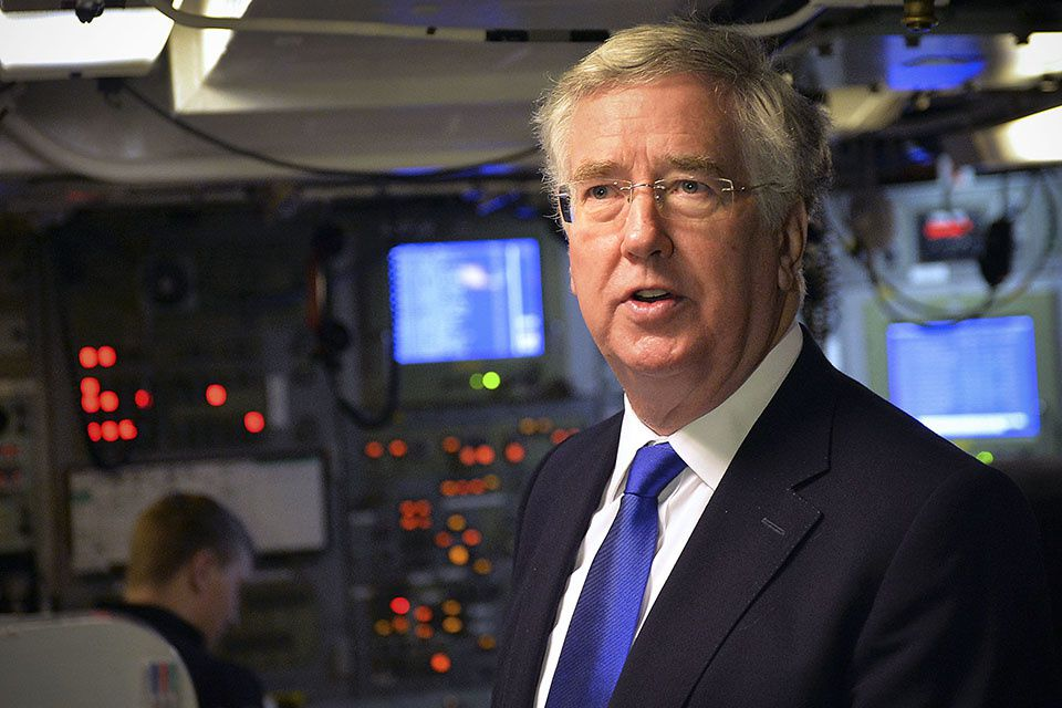 Defence Secretary Michael Fallon visiting HMNB Clyde.  Photo UK MoD
