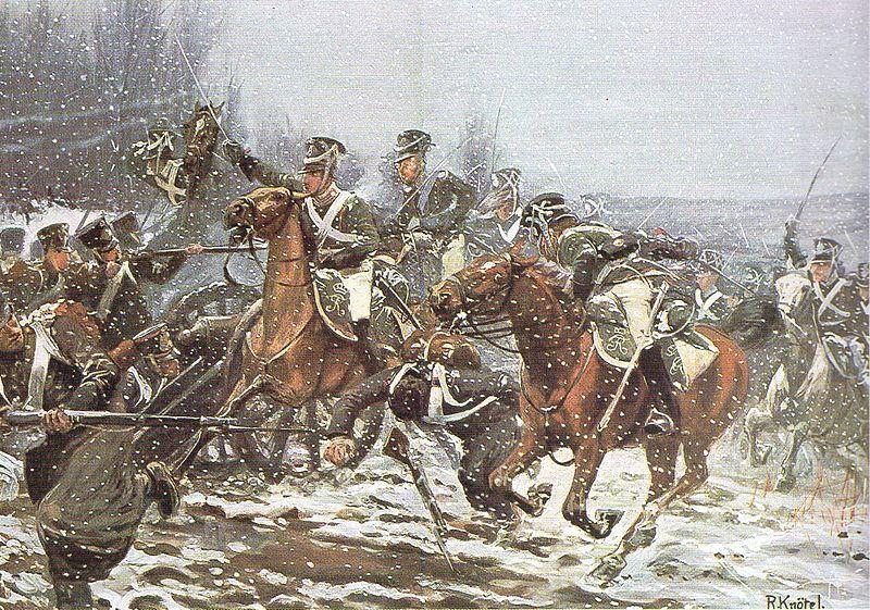 Charge des cavaliers wurtembourgeois à La Rothière, le 1er février 1814. par Richard Knötel