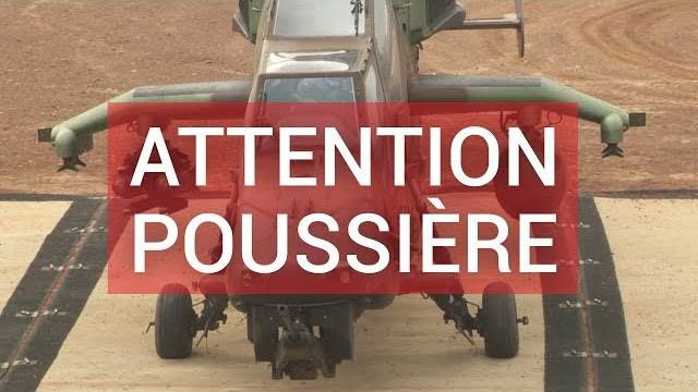 "Attention, poussière ! ""Touch and go"" d'un hélicoptère Tigre (Sangaris)"
