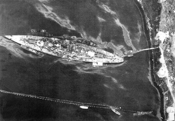 The Tirpitz in Kåfjord/Altafjord photographed by a British Mosquito on 12 July 1944.