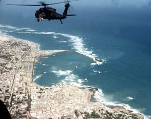 Michael Durant's helicopter (Super64) heading out over Mogadishu on October 3, 1993 - photo US DoD