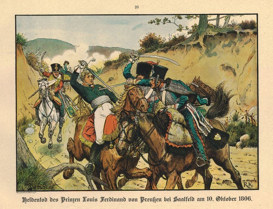 Le prince Louis Ferdinand de Prusse rencontrant le sabre du maréchal des logis Guindet - Richard Knötel (1857-1914)