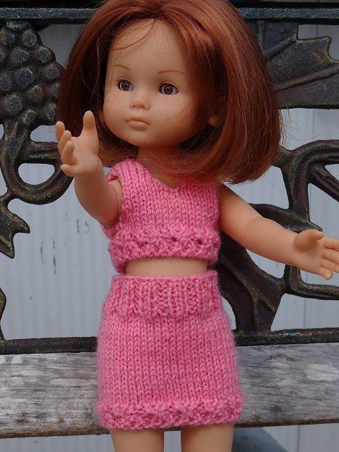 Fiche gratuite vêtements de poupées N°152: jupe et haut Chéries de Corolle