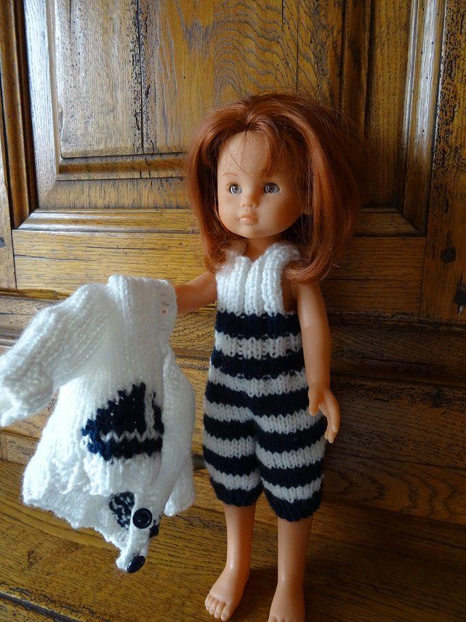 Fiche gratuite vêtements de poupée N° 191: ensemble marin Chéries de Corolle