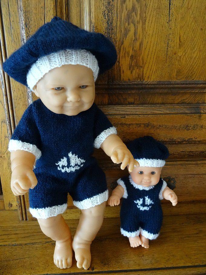 Fiche gratuite vêtements de poupées N° 195: ensemble marin poupon