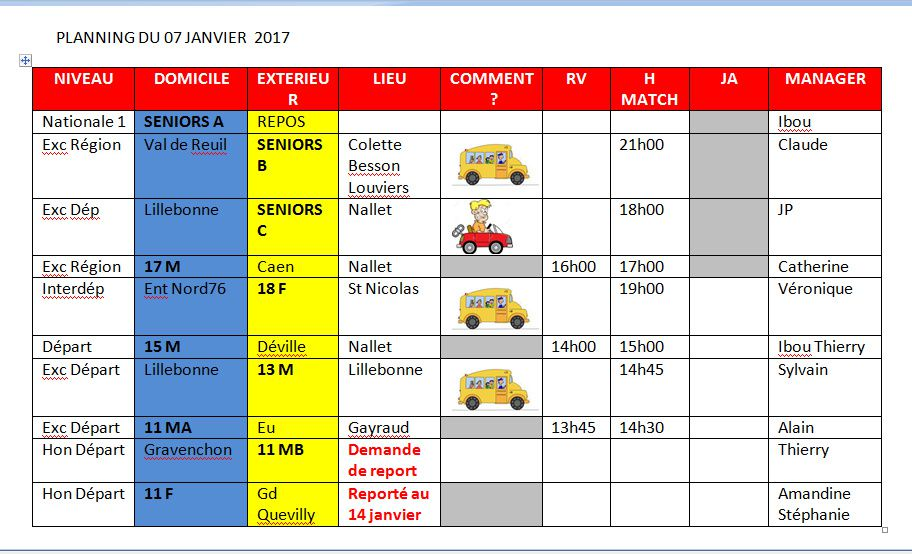 Planning du premier we de janvier