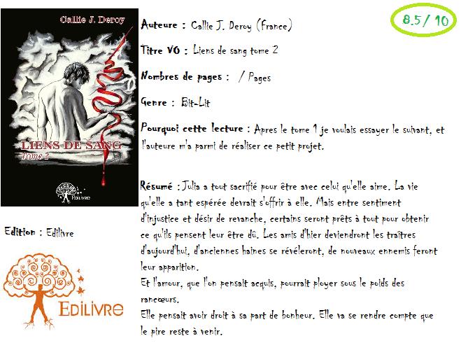 Liens de sang, tome 2 de Callie J.Deroy