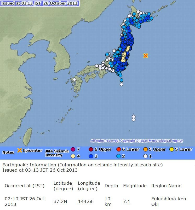 Séisme du 26 octobre 2013 de 2h10 (source Japan Meteorological Agency)