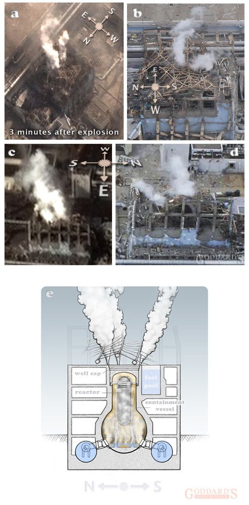 Figure 2 (a-d): des panaches de vapeur distincts vus tout au long du début du printemps après l'explosion s'élèvent en nuage de l'unité 3. (e) La tendance à un panache de vapeur persistant suggère une vapeur provenant de l'enceinte de confinement.