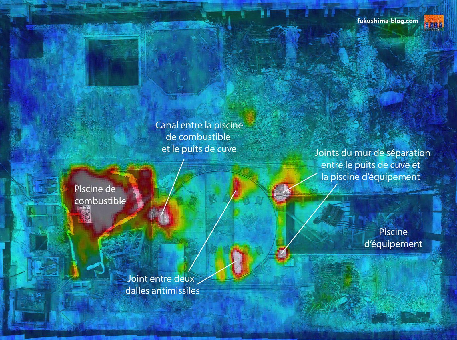Fig. 48 : Superposition de la photo infrarouge du 20 mars 2011 et d'une photo de la surface technique