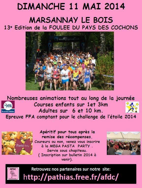 Dimanche 11 mai 2014 - La Foulée du Pays des Cochons - Marsannay-le-bois