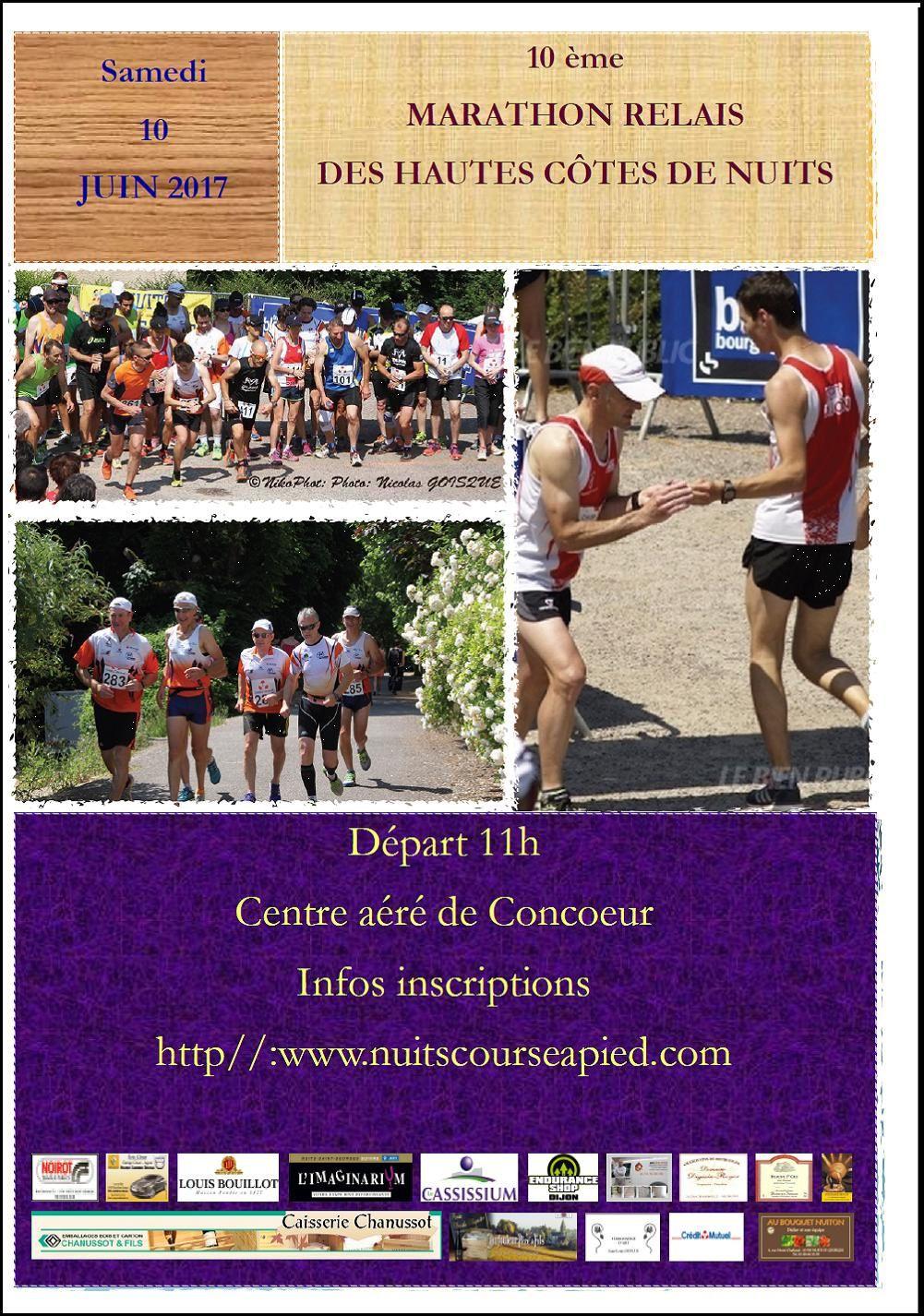 Samedi 10 juin 2017 - Marathon Relais des Hautes Côtes de Nuits - Concoeur