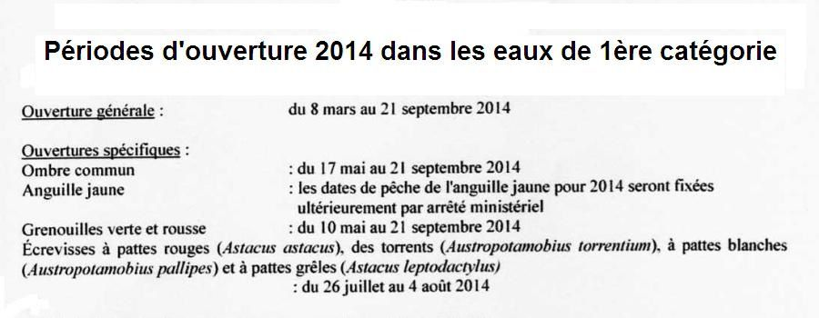 PERIODES D'OUVERTURE DE LA PECHE EN 2014 DANS LE DEPARTEMENT DE SEINE-ET-MARNE.
