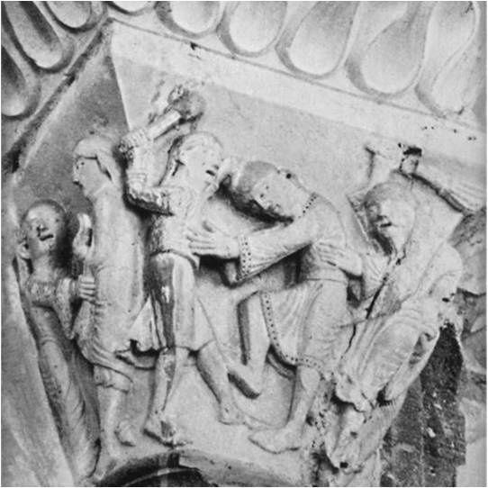 Joseph tenté par la femme de Putiphar, chapiteau de la Madelaine de Vézelay, 12ème siècle