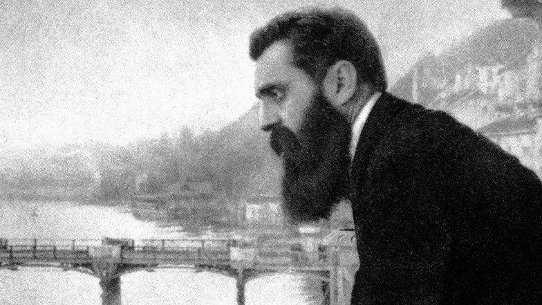 Theodor Herzl, décembre 1901 à l'Hotel Les Trois Rois à Bâle, Suisse, lors du premier Congrès Sioniste. URL: http://www.timesofisrael.com/herzls-iconic-balcony-up-for-sale/
