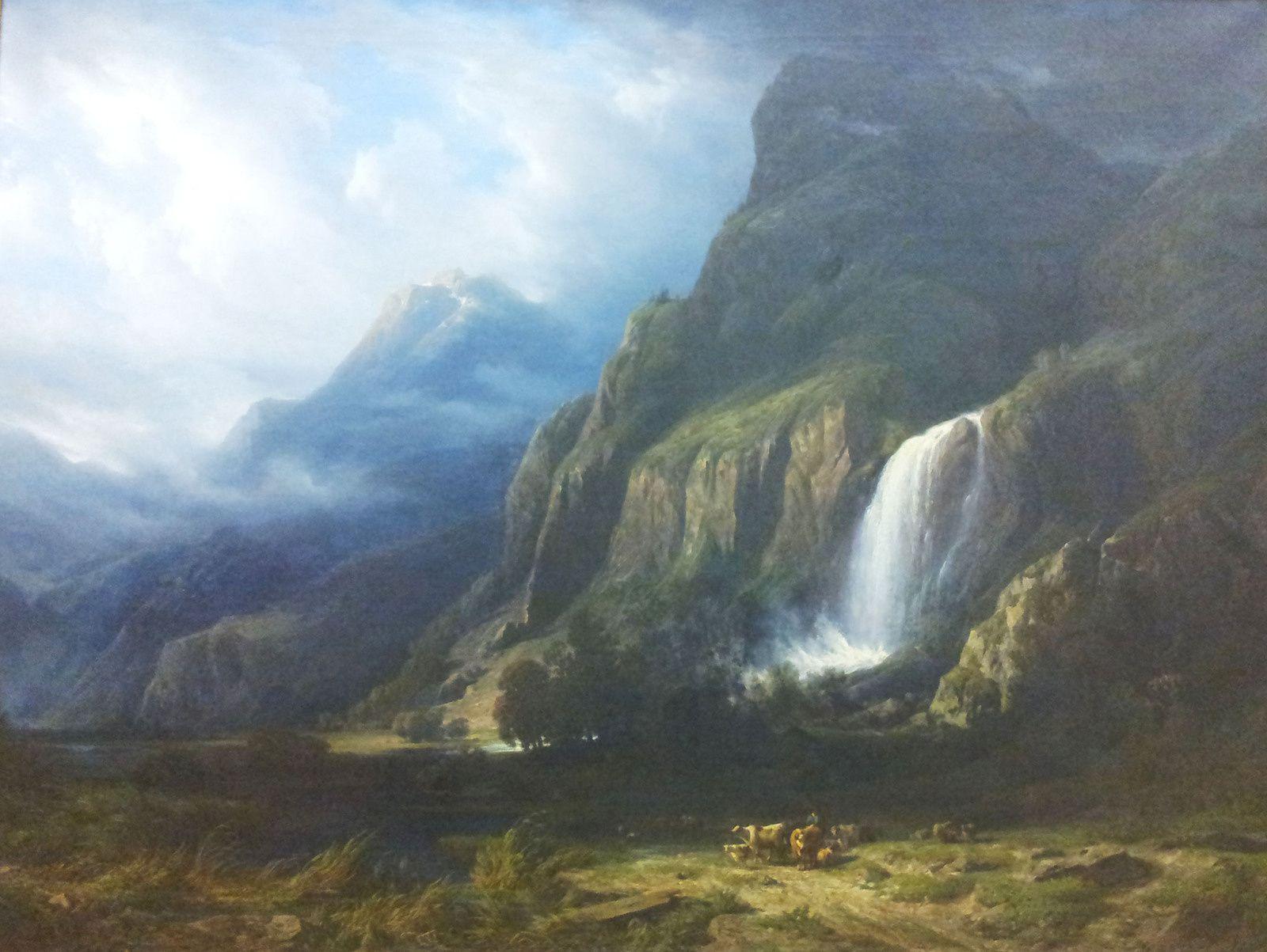 François Diday, La Cascade de Pissevache, 1852