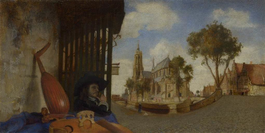 Samuel VAN HOOGSTRATEN, Boîte à perspective avec intérieur hollandais, 1663, huile sur bois, 40,3  x 25,9 x 26,7 cm, Michigan, The Detroit Institute of Arts / Carel FABRITIUS,  Vue de Delft, 1652, huile sur toile, 15,5 x 31,7 cm, Londres, The National Gallery