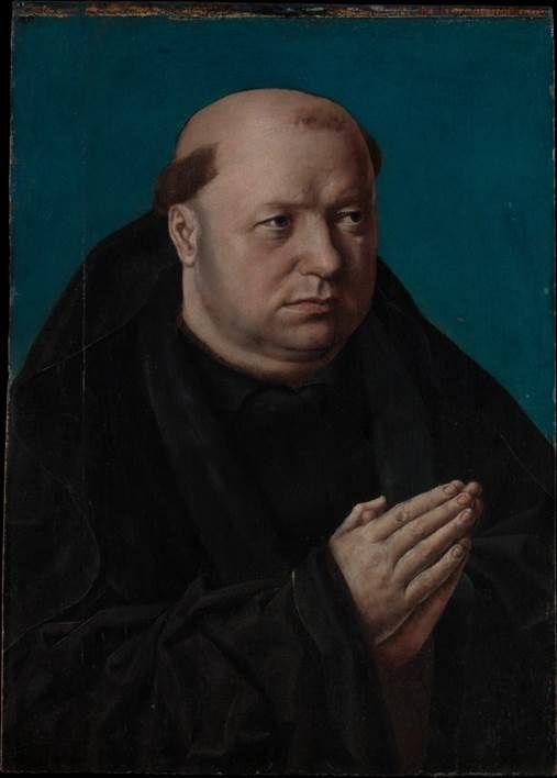 Portrait d'un moine en prière&#x3B; volets extérieurs de la Crucifixion de Saint-Nicolas
