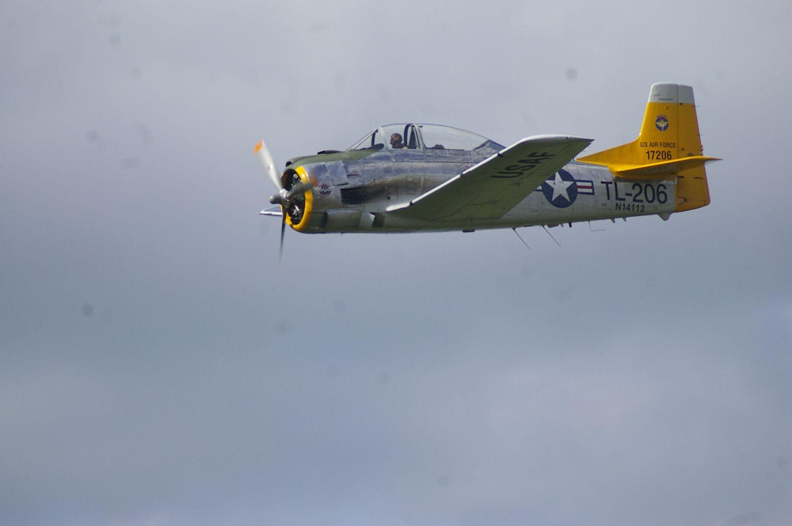 Un T-28. Je trouve que cet avion manque d'élégance au sol perché sur ses grandes jambes, mais en vol il est sympa.