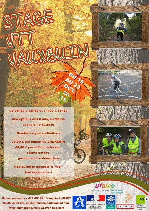 Dossier inscription au stage VTT de VAUXBUIN - Octobre 2015