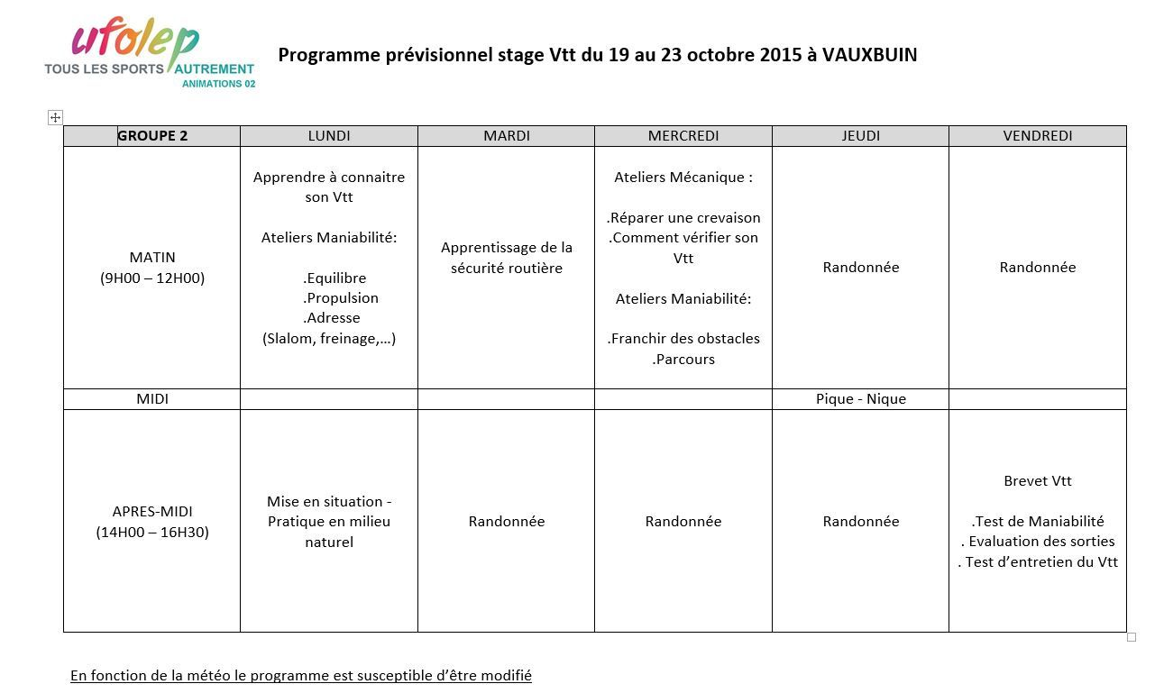 Planning groupe 2