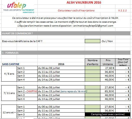 Calculateur tarifs ALSH VAUXBUIN 2016