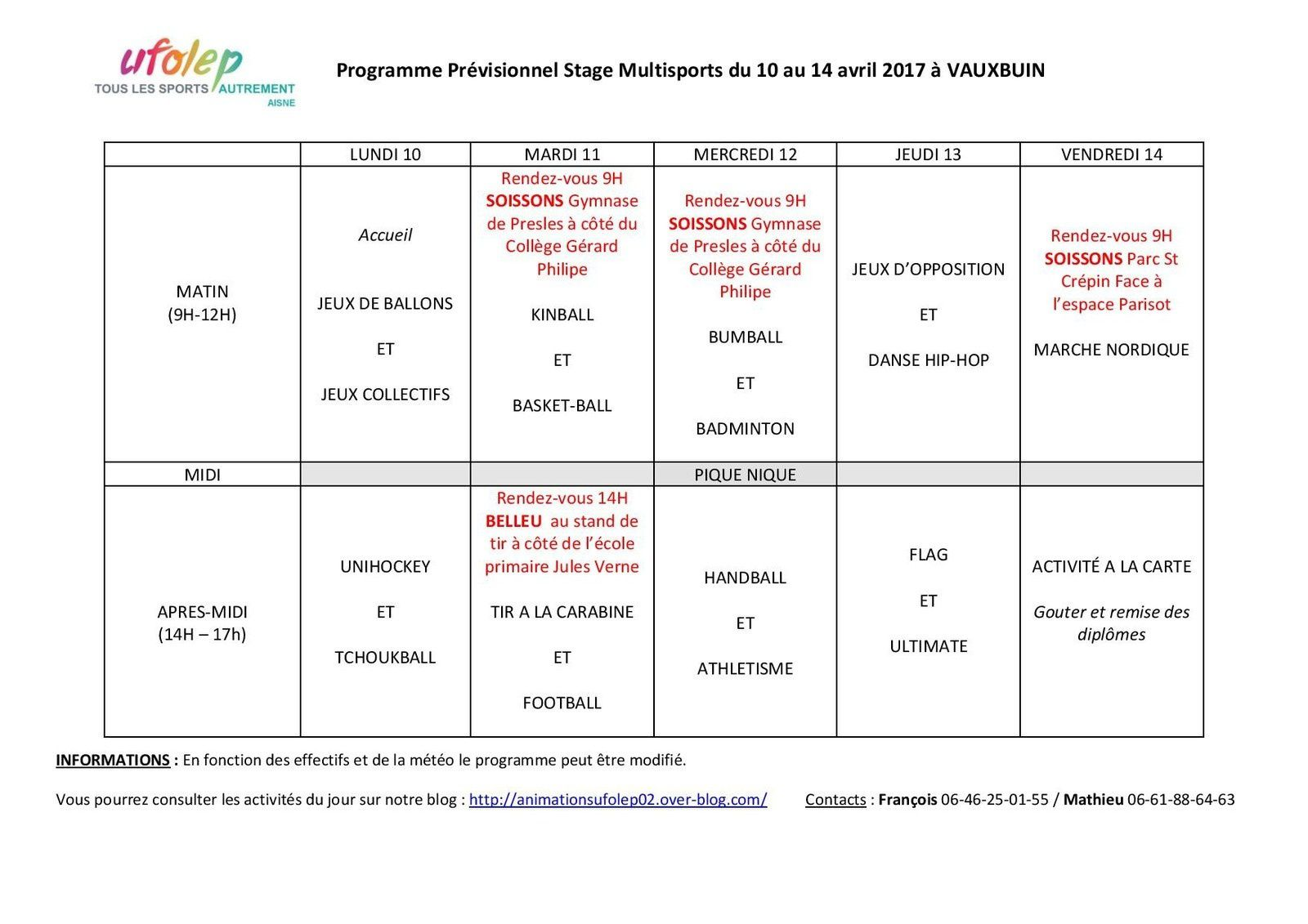 [Stage multisports et KIDsport] Lundi 10 avril - Bienvenue les enfants