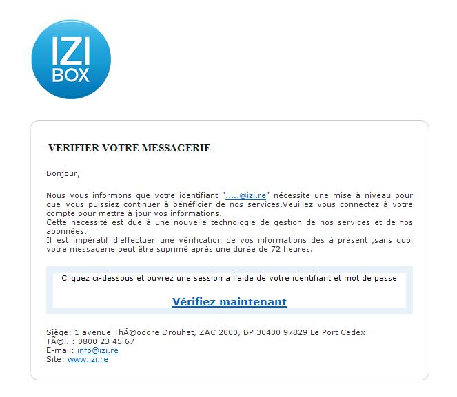 [communiqué de presse] De faux e-mails IZI circulent !