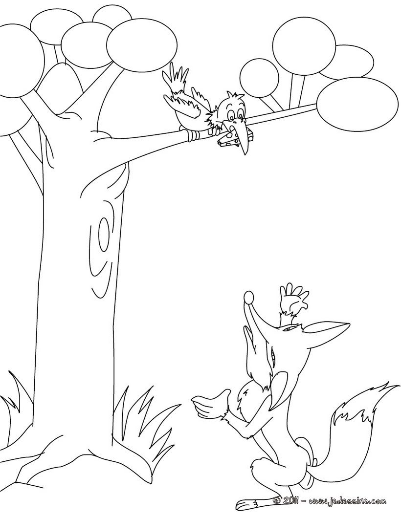Free fox and the crow coloring pages - Coloriage renard ...